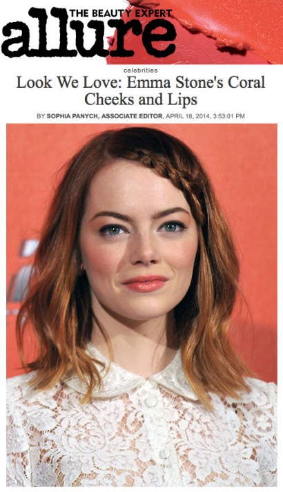 Allure Apr 2014 Emma Stone's Coral Cheeks